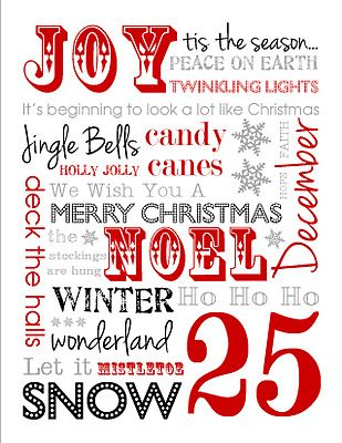 Free Christmas Subway Art Printable,   available in 5 colors!
