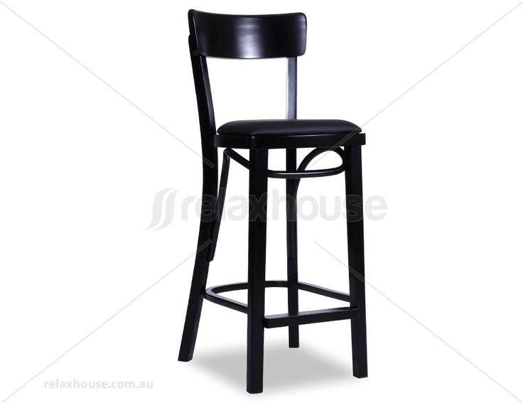 Original European Made Bentwood Francois Bar Stool w Black Seat Pad - Black