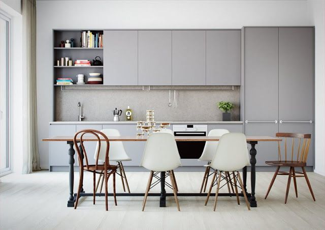 grey cabinets, huge dining table | via La maison d'Anna G. | original source: Oscar Properties