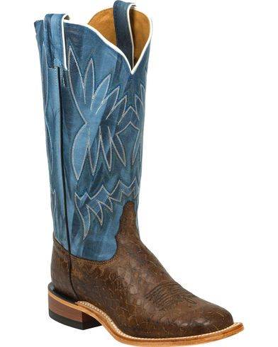 Tony Lama Chocolate Reverse Quill Print Americana Cowgirl Boots - Square Toe - Country Outfitter