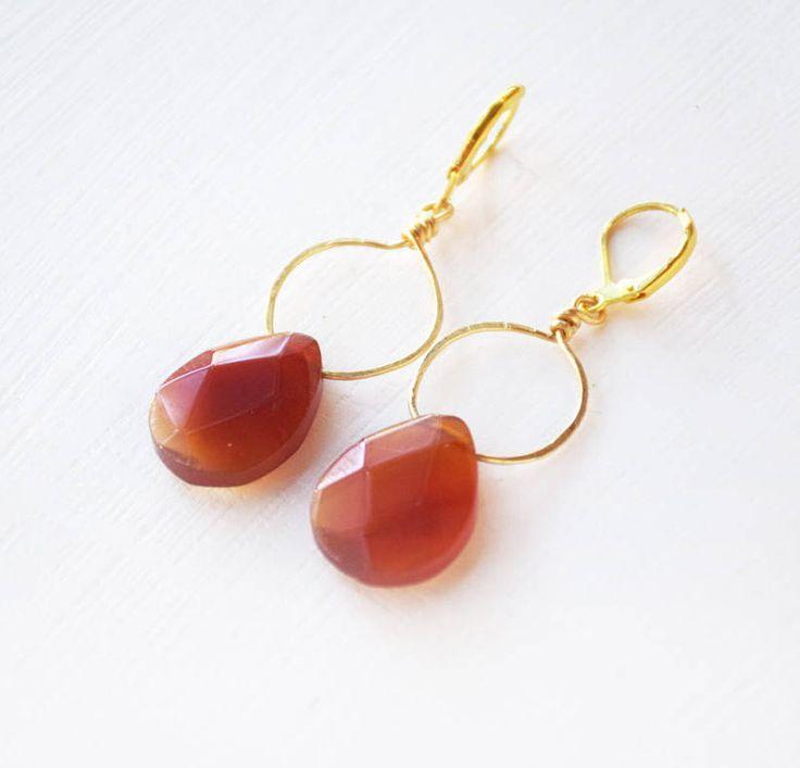 Orecchini fatti a mano con briolette corniola arancione di BeadsWires su Etsy