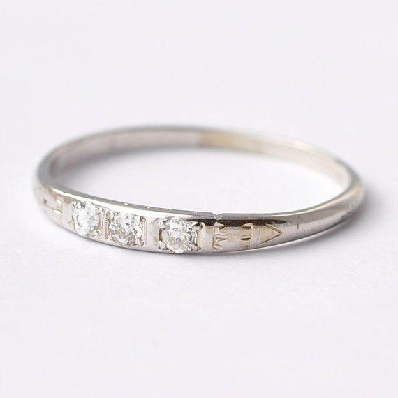 three diamond art deco wedding rings antique by blueridgenotions