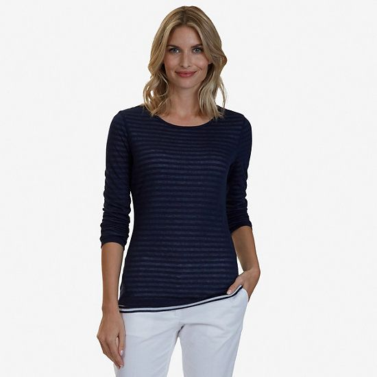 Double Layer Long Sleeve Top,Indigo Heather,large
