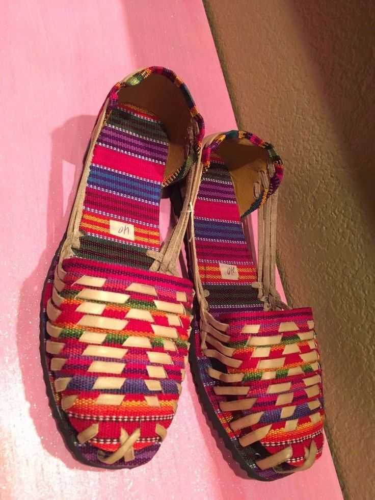 New Handmade Mexican Otomi Sandals Huaraches Leather Shoes Multicolor Flats