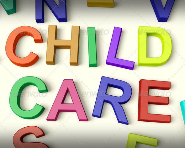 Child Care Written In Kids Letters - PhotoDune Item for Sale