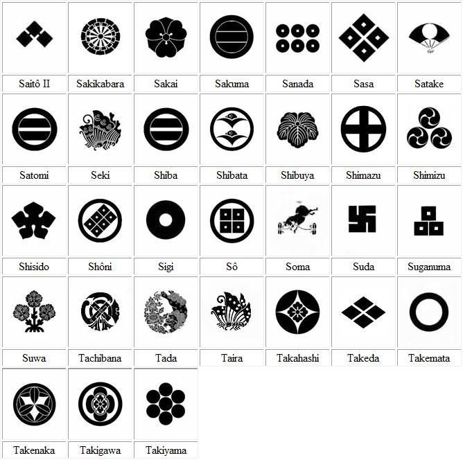 MON -6 Kamon 家紋 - Japanese emblems used to decorate and identify an individual or family. Similar to the coat of arms in Europe.
