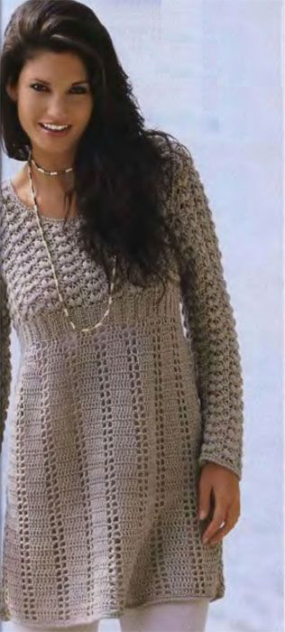 Crochet Beige Dress free written pattern with diagram. Page in Russian. use google translet if necessary