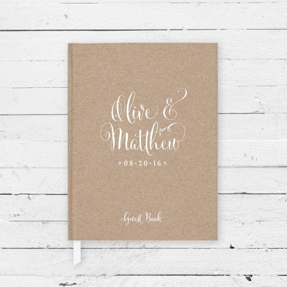 Wedding Guest Book #10 - Custom Hardcover Guest Book - Calligraphy - Kraft Paper