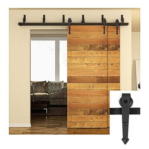 5/6/6.6/7.5/8/10FT Winsoon Bypass Arrow Design Sliding Barn Door Hardware Black Rustic Closet Interior Quiet Glide Track Rail Rolling Kit Set Industrial Strength, Easy to Follow Installation Manual Included, 6FT