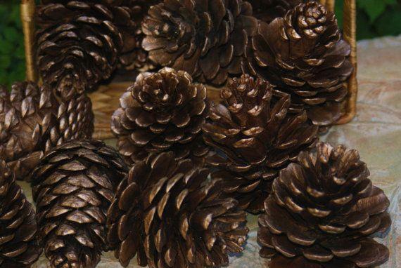 Bronze Pine Cones Pinecones Natural Pinecones winter by Teakberry