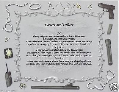 Details about CORRECTIONAL OFFICER Poem Personalized Name