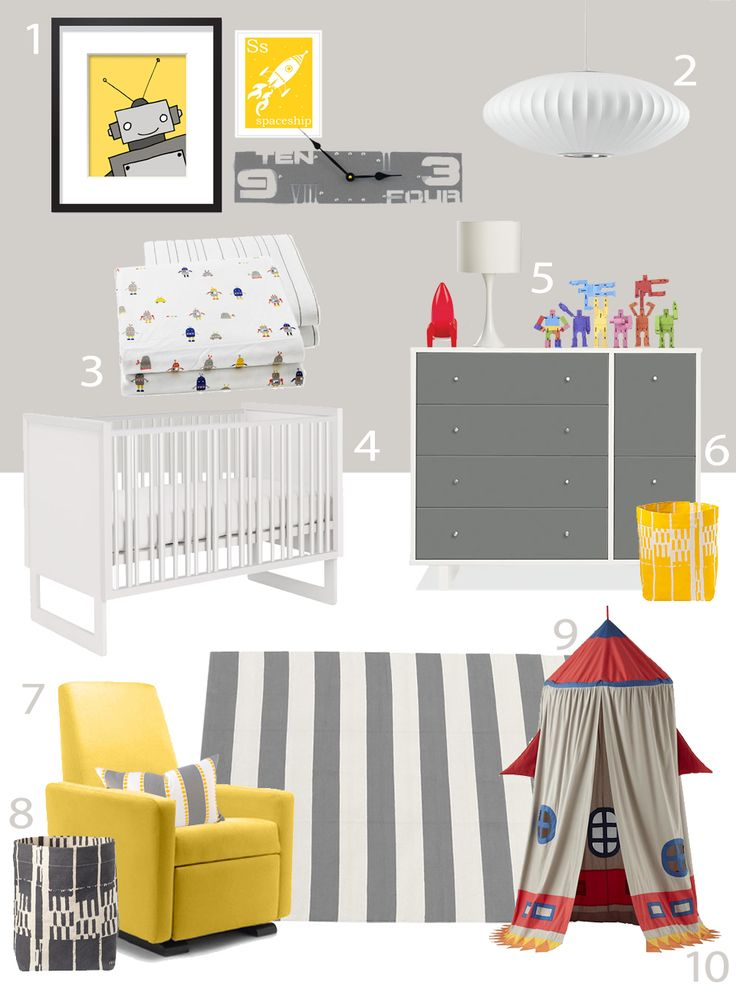 A yellow Grano Glider Recliner adds a pop of color to this robot themed nursery. My Modern Nursery #69: Robot March from Little Auggie