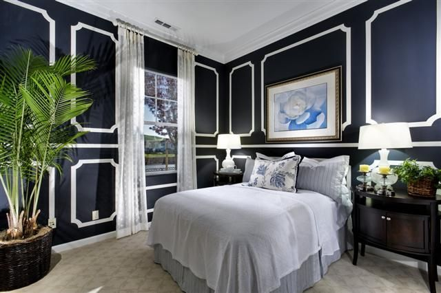 Sophisticated Navy With Dark Wood And Cool White Trim