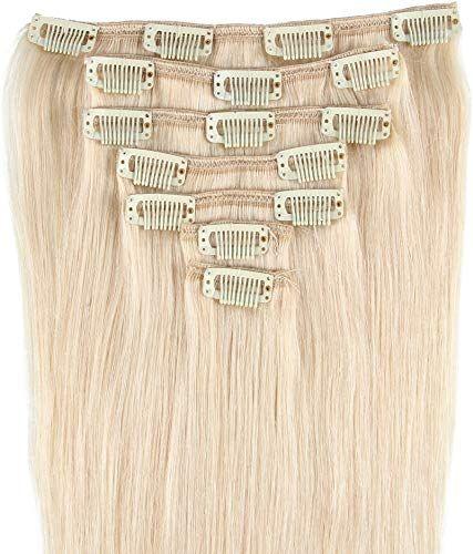 Best Seller Beauty7 16-28 Inch Clip Remy Human Hair Extensions #60 Platinum Blonde 8pcs 120g (26 online
