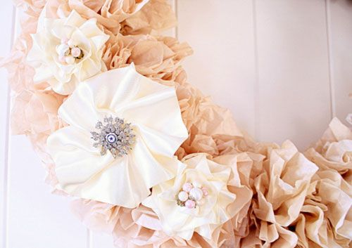 vintage shabby chic tea stained first birthday party coffee filter stained wreath features brooch from grandma