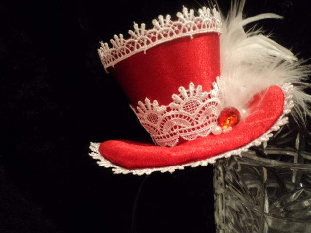 red hat with white lace