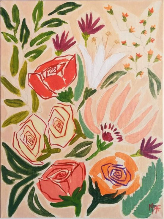 """ARTFINDER: Flowers from Gandía by Marisa Añón Frau - This painting from my new series of Paintings """"Spanish Flowers"""" is dedicated to the beautiful seaside town of Gandía on the Mediterranean coast.  This Pain..."""