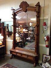 "Monumental Walnut Hall Tree / Hall Mirror - 9' 8"" Tall"