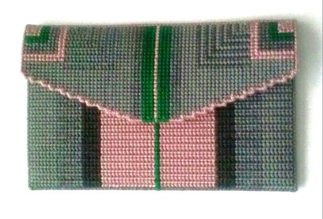 Needlepoint clutch- pink/green/grey