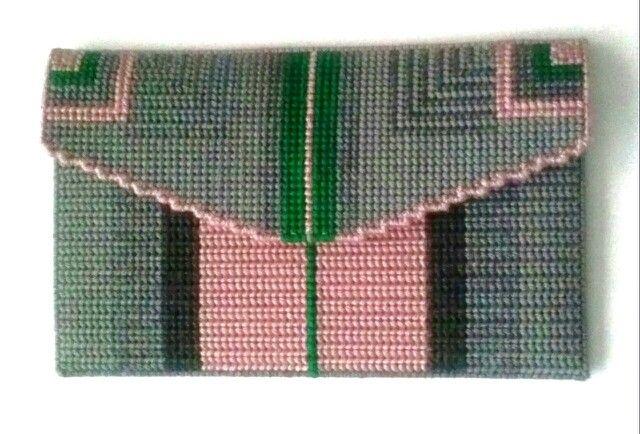 Needlepoint clutch- pink/green/grey