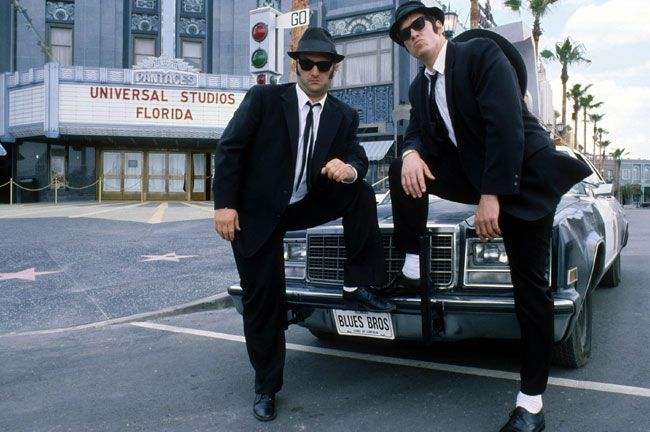 The Blues Brothers put on several street shows through the day.