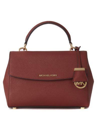 MICHAEL KORS Borsa A Mano Michael Kors Ava In Pelle Saffiano Rosso Mattone. #michaelkors #bags #charm #accessories #
