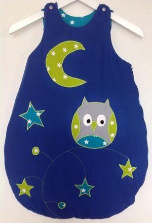 gigoteuse au clair de la lune bleue turquoise avec hibou et étoiles : Mode Bébé par petitebricole