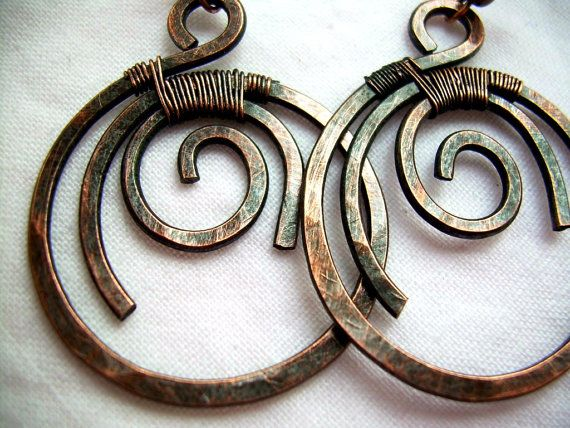 Hammered Copper Earrings Wire Wrapped Jewelry by KiawahCollection