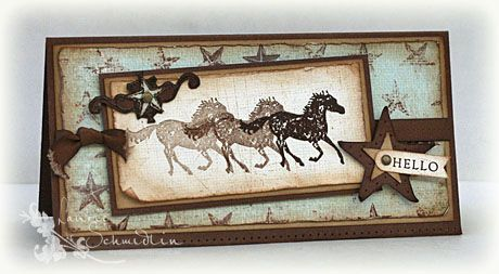 Western card ~~~ love the stamping technic used here...adds such a rustic touch