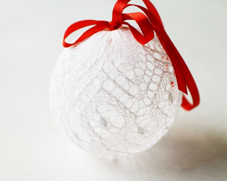 Hand Knitted Lace Christmas Tree Ball by DoubleLknits