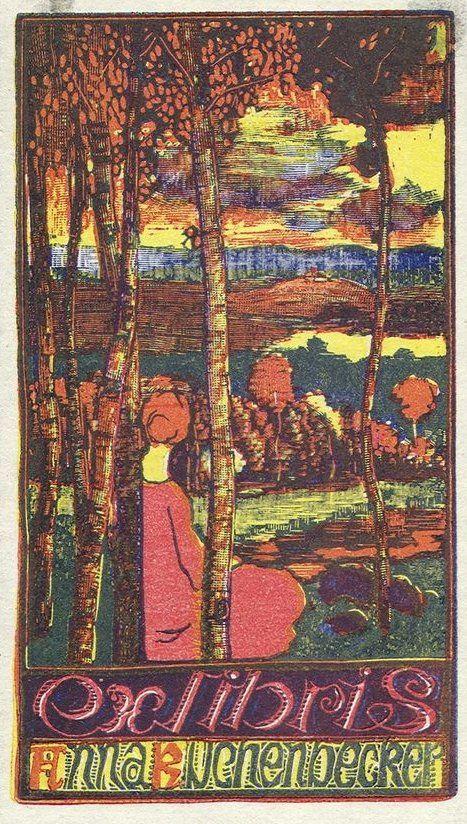 Ex libris Anna Kuchenbecker by Joseph Vachal  (1884-1969) - 1916