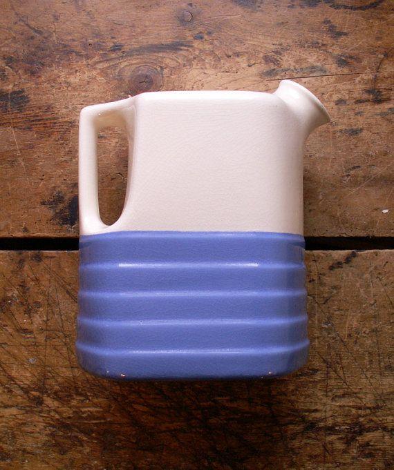 Vintage Blue and Water Pitcher - Milk Pitcher  - Periwinkle Blue Retro Kitchen Decor!: