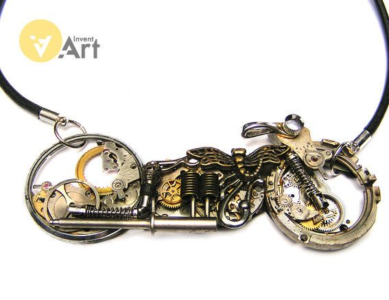 Steampunk Motorbike 4 handmade metal brooch for for real