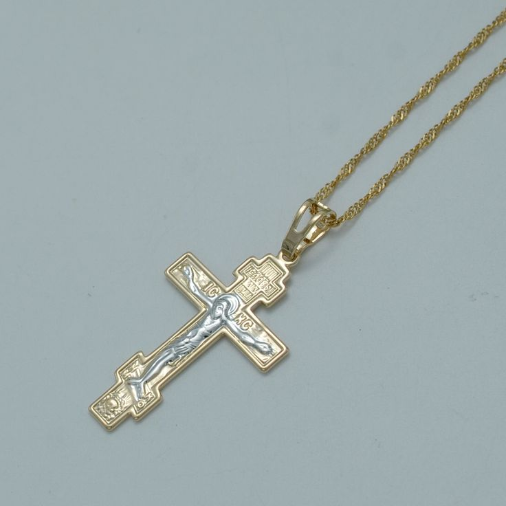 Two Tone Gold Plated Orthodox Christianity/Orthodox Church Eternal Cross Pendant Necklace Jewelry Russia/Greece/Ukraine #011004