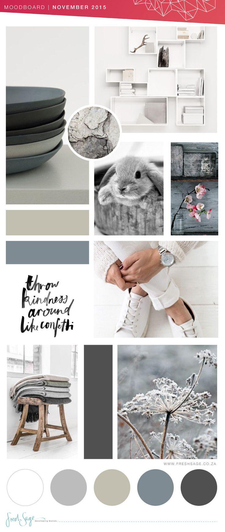 November Moodboard | Color inspiration Grey   White