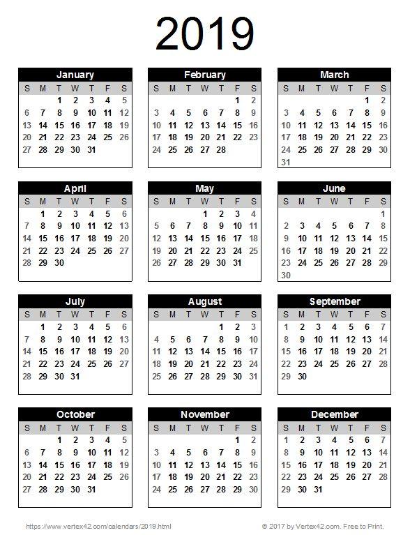 download a free 2019 calendar