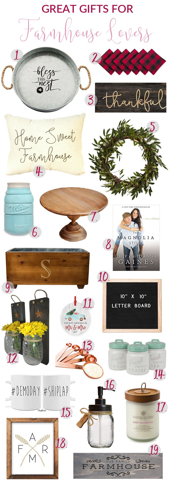 If you share my obsession with all things farmhouse, or you've got one of those farmhouse lovers on your gift list this year, this is the gift guide for you!     #farmhouselove #giftguide #farmhouse #homedecor #farmhousedecor