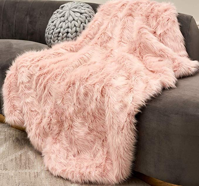 Zigguo Gorgeous Blush Pink Faux Fur Throw Blanket Shaggy Throw Rug With Long Piles Soft Deco Faux Fur Blanket Blush Pink Bedroom Decor Faux Fur Throw Blanket
