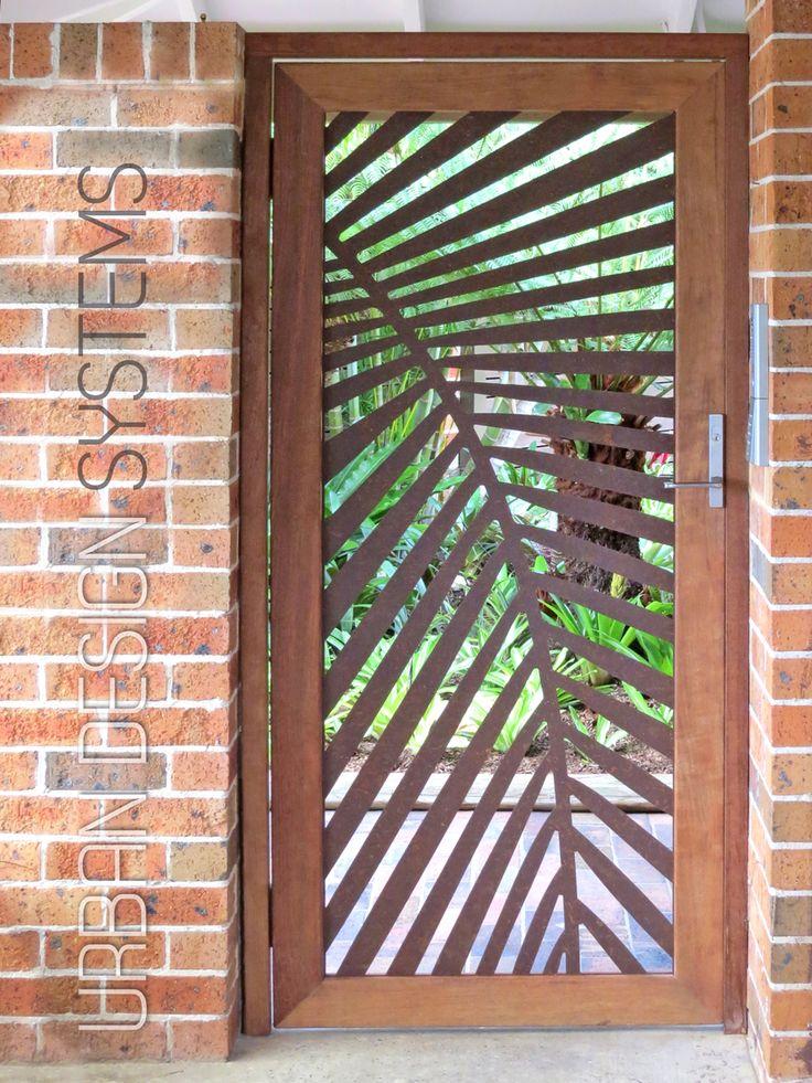Laser cut gate - Palm frond (weathering steel u0026 select hardwood) & 49 best ?????? ???????? images on Pinterest | Facades Iron doors ...