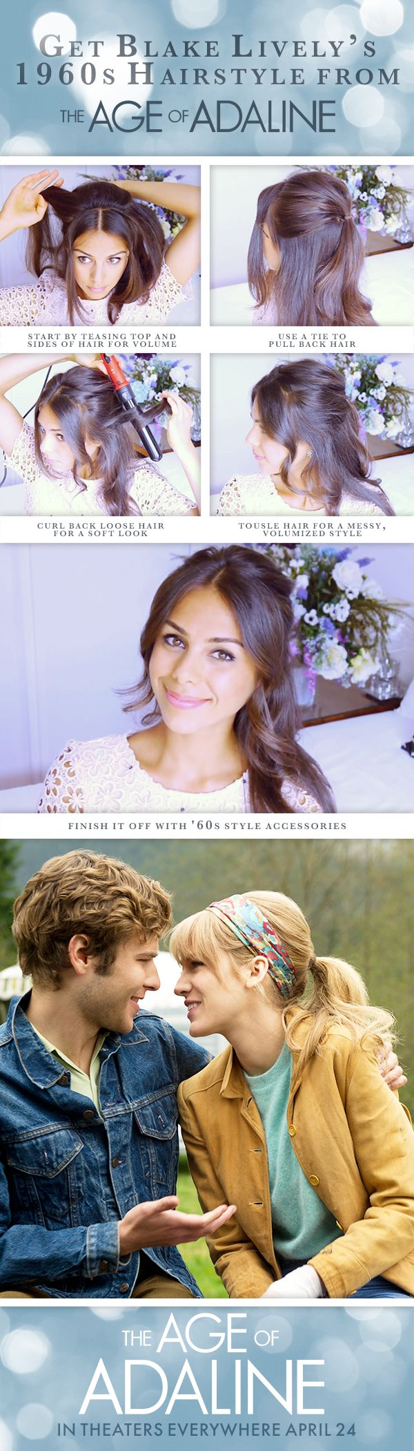 Take a trip back to the summer of love with this 1960's hair tutorial inspired by Adaline. Watch her incredible journey unfold over a century in The Age of Adaline, starring Blake Lively - In theaters everywhere April 24, 2015!