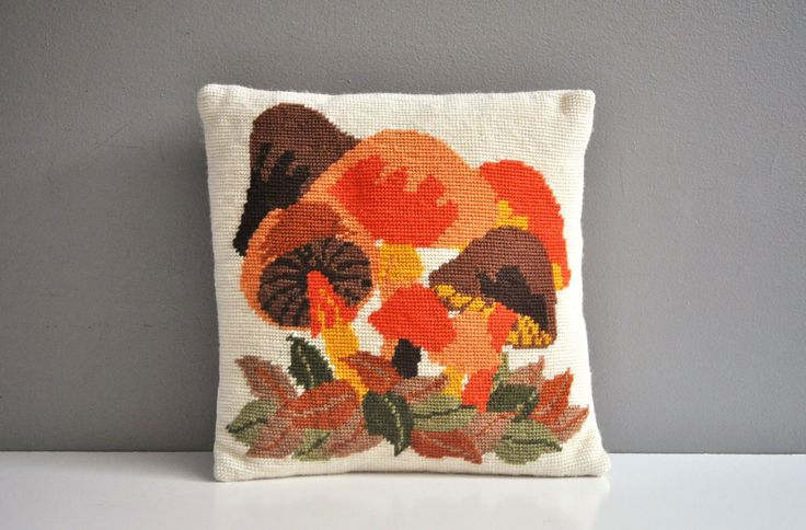 Vintage Mushroom Needlepoint Pillow by thewhitepepper on Etsy https://www.etsy.com/listing/484094707/vintage-mushroom-needlepoint-pillow
