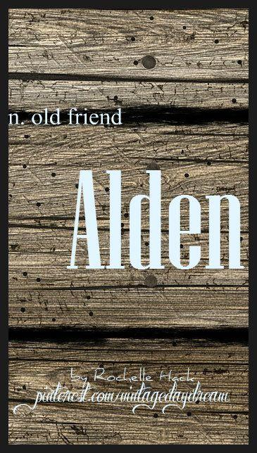 Baby Boy Name: Alden. Meaning: Old Friend. Origin: Old English. https://www.pinterest.com/vintagedaydream/baby-names/