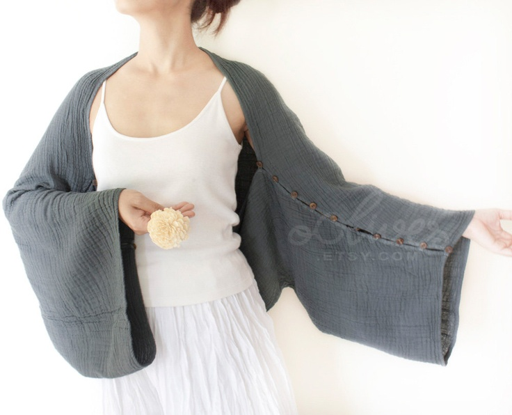 Oversized Cotton Shrug /Scarf , Long Sleeves with Coconut Buttons in Dark Gray. [Etsy]