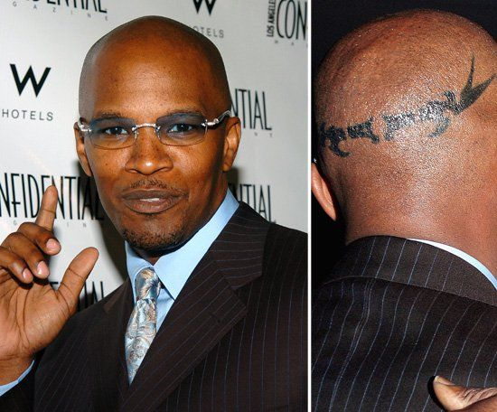 Pin for Later: The Ultimate Celebrity Tattoo Gallery Jamie Foxx It was reported that Jamie Foxx got the design on his head to celebrate his 40th birthday.