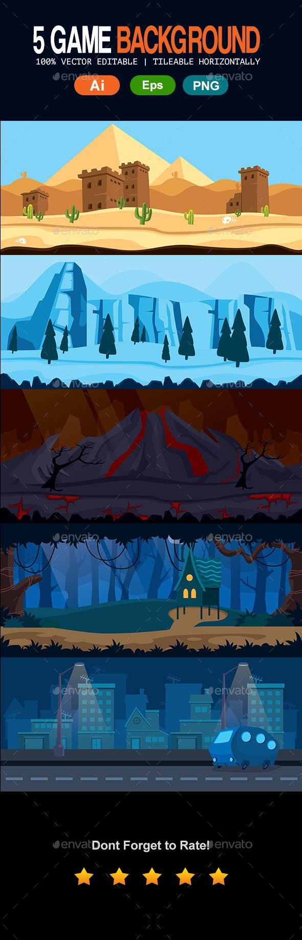5 Set #Game #Backgrounds - Backgrounds Game Assets Download here: https://graphicriver.net/item/5-set-game-backgrounds/17115626?ref=alena994