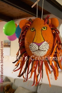 How to make a papier-mache lion piñata