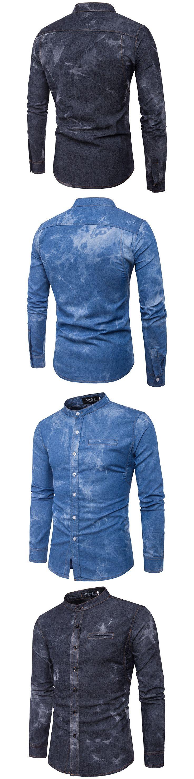 2017 Autumn British style Fake pocket denim shirts men black casual slim Stand up Collar denim shirts for men,size M-XXL NZ03