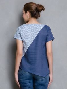 Indigo-Blue V Neck Ikat Linen Top