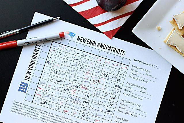 Free printable Super Bowl Squares game for your party this weekend! Why not make a little money?