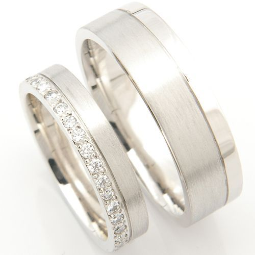 Both diamond cut with a brushed finish, one with added diamond sparkle - a beautiful platinum matching pair of wedding rings created by Form Bespoke Jewellers
